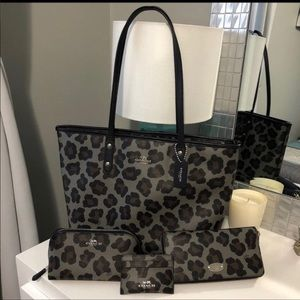 Coach Leopard print tote set with accessories